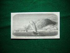 Gravure année 1860 Iles à coraux: village de Vanou, dans l'ile de Vanikoro