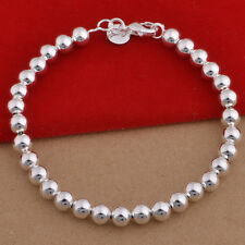 Mode Frau Versilbert Metall Armreif Niedlich Perlen Armband Schmuck Neu