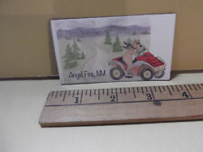 "Old Collectible Kitchen Magnet 3.5""in Rubbery Angel Fire, NM Bear on Golf Cart"