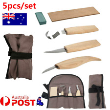 5Pcs Wood Carving Tools Spoon Carving 3 Knives Roll Leather Strop Compound Hook