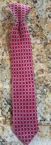 Chaps Boys all silk neck tie red with tiny dark dots and white blocks EUC