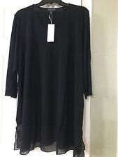 1X NEW Eileen Fisher Black Solid V-Neck Stretch Silk Jersey 3/4 Sleeves Top