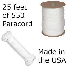 25 Feet of 550 Paracord Type III Nylon Parachute Cord Utility Cord White