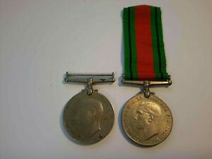 2 x 1939 - 1945 Defence Medal - Genuine WWII