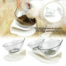 Food Bowl With Stand White Elevated Cat Dog Water Bowl Detachable Pet Feeding #T