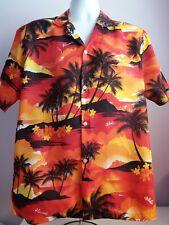 VTG Mens JADE FASHIONS Red Multi Islands Hawaiian Shirt Size Medium (c5)