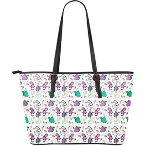 Cute Cat Large Leather Tote Bag