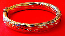 """Gold bonded Sterling Silver Hinged Bangle 10mm thick 2.5""""/5.25cm Diameter 31.1g"""