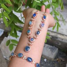 Certified Natural Rainbow Opal Gemstone 925 Silver Necklace Bracelet Set+Chain