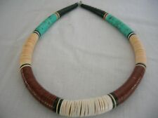 "Turquoise, coral and black onyx beaded necklace 18"" long with hook clasp"
