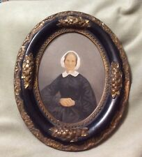 Antique Portrait in Oval Frame of Lady in White Lace Bonnet