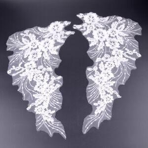 Aus 2X White Lace Applique Trim Embroidery Sewing Motif Wedding Dress Crafts DIY