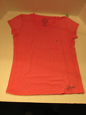 Life is Good Women Large C/S Cotton Scoop neck Fitted Fresh Pink $36.00 NWT 2608