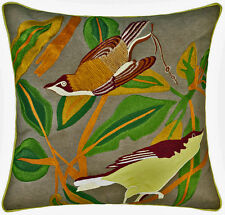 Embroidered Birds CUSHION COVER 43X43 Flora Fauna COTTON Linen House