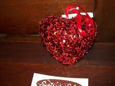 "NEW VALENTINE 3 1/2"" ORNAMENT 3-D HEART RED SEQUIN FLECKS & BEADS HANGING TREE"