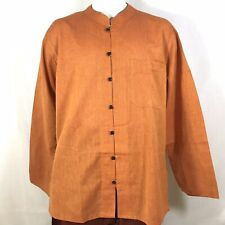 Traditional Indian Mens Summer Shirt Light weight Cotton ORANGE