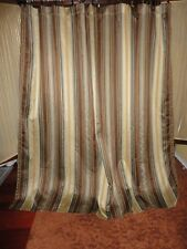 CROSCILL BRAZIL BLUE BROWN GOLD STRIPE FABRIC SHOWER CURTAIN 72 X 73