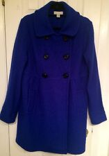 Lord & Taylor Coat Boucle Wool Fitted Blue Unlined Double Breasted Size: L