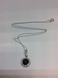 14k White Gold Real Diamonds & Black Onix Necklace