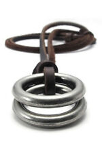 Jewelry Men's Ladies Necklace Ring Pendant with Brown Leather Chain Brown T5Q2