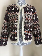 Ladies Navy Cream Orange Aztec Quilted Light Weight Jacket Size 14 By Primark