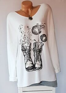 ITALY  Longshirt.Tunika,Shirt,Pulli,modern Muster,Niete,Oversize,Gr.42,44,46,NEU