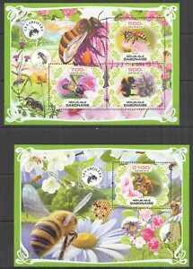 M1086 2019 GABON HONEY BEES FLOWERS FLORA & FAUNA BL+KB MNH