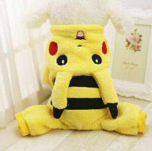Cartoon Puppy Cat Jumpsuit Dog Clothes Sweater Pet Hoodie Warm Costume Yellow M