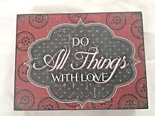 "Hobby Lobby Wood Red Black 6X8"" Sign: DO ALL THINGS WITH LOVE"