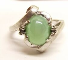 Vtg 14K White Gold Linde Star Sapphire Ring Diamond Sz 6.25 Mint Green Estate