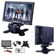 "7"" Car TFT LCD AV Monitor HD Screen Remote 2 Way Video Input DC 12V Home Office"