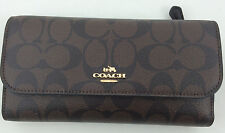 New Authentic Coach F57319 PVC and Leather Checkbook Wallet Brown/Black