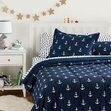 Twin Full Queen Bed Bag Navy White Anchors Nautical 7 pc Comforter Sheet Set