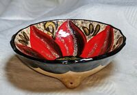 """Hand Made Small 5"""" Folk Art  Bowl  Hand Painted Glittery Flower Design Mexico"""