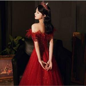Women's Gorgeous Off Shoulder Feather Wedding Party Flared Dress Prom Gown SKGB