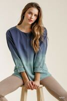 Umgee Navy Ombre Dye French Terry Knit 3/4 Sleeve Top Size S M L