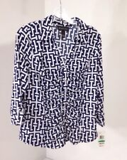 INC WOMEN'S GEO PRINT RUCHED FRONT TOP NAVY/WHITE LG NWT $60