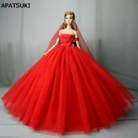 Red Wedding Dress for Barbie Doll Clothes Princess Evening Party Gown Outfits