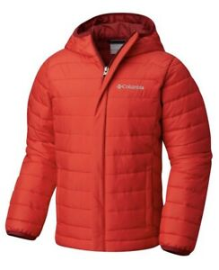 NWT Columbia Kids Powder Lite Puffer Red Winter hooded jacket, Boys Size Small