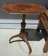 EARLY AMERICAN ANTIQUE CANDLE STAND TILT TOP TABLE CHERRY INLAID 18TH CENTURY