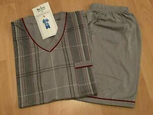 TOP Herren Schlafanzug Shorty Pyjama Gr. M bis 3XL hellgrau gestreift NEU