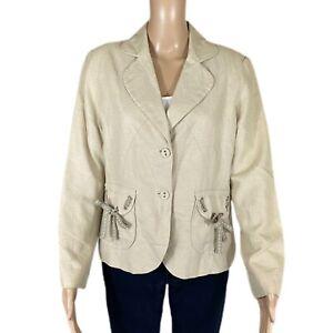 COLDWATER CREEK Blazer Jacket Linen Blend Flap Pockets Lined Sz M PETITE