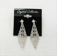 Silver Dangle Clear Rhinestone Crystal Chandelier Earrings Wedding Bridal Formal
