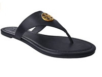 NIB TORY BURCH BENTON FLAT THONG SANDALS BLACK CALF LEATHER 9.5 FLIP FLOPS