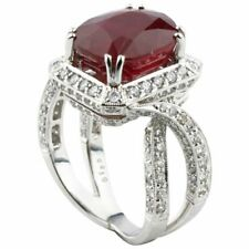 Beautiful Blood Red Oval Cut 12CT Ruby & 1.90CT Side Accents In 925 Silver Ring