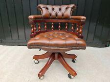 More details for leather chesterfield captains chair brown/swivel/tilt recline original