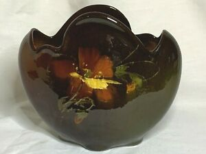 Owens art pottery hand painted standard glaze Utopian pattern pillow vase