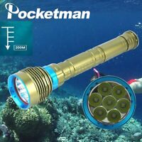 60000LM Professional LED Diving Flashlight ipx8 Waterproof LED Underwater Torch