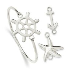 925 Sterling Silver Interchangeable Nautical Charms 3mm Bangle Bracelet Cuff