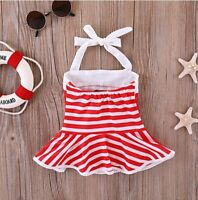 Younger Tree Infant Baby Swimsuit Ruffles Red and White Stripes 6-12 Month